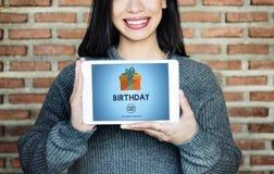 Begrepp för gåva för gåva för lycka för födelsedagårsdagberöm Arkivbild