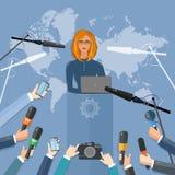 Begrepp för intervju för tv för presskonferensvärld levande Royaltyfri Bild