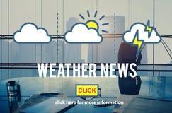 Begrepp för klimat för förutsägelse för information om vädernyheterna dagligt Arkivbild