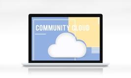 Begrepp för lagring för moln för nedladdningnätverkssynkronisering Arkivfoton
