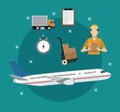 Begrepp för leverans för flygplantransportobjekt internationellt Arkivbilder
