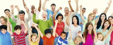Begrepp för lycka för grupp människorgemenskapberöm Royaltyfria Foton