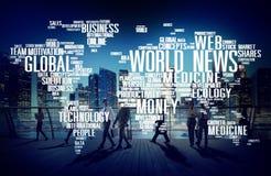 Begrepp för massmedia för händelse för världsnyheterglobaliseringadvertizing Arkivbilder