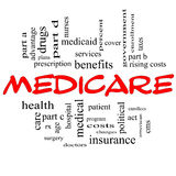 Begrepp för Medicare ordmoln i röda lock Arkivbild