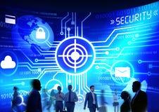 Begrepp för mål för säkerhet för teknologi för pendlare för affärsfolk Arkivbild