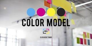 Begrepp för modell för färgtrycksvärtafärg CMYK Arkivbilder