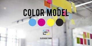 Begrepp för modell för färgtrycksvärtafärg CMYK Arkivfoto