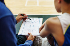 Begrepp för taktik för spelplan för sport för basketspelare Royaltyfri Bild
