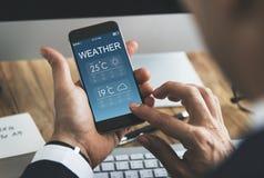 Begrepp för temperatur för prognos för väderrapport Arkivbild