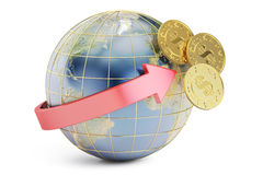 Begrepp för överföring för internationell bank, tolkning 3D Arkivfoton