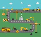 Begrepp för vägkonstruktion Arkivbild