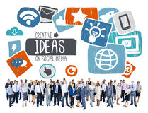 Begrepp för vision för nätverkande för idérikt socialt massmedia för idéer socialt Royaltyfri Fotografi