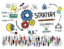 Begrepp för vision för tillväxt för teamwork för strategilösningstaktik Royaltyfri Foto