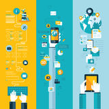 Begrepp för website-, mobil- och minnestavlaservice Arkivbilder
