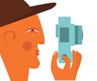 begrepp isolerad fotografiwhite Manlig fotografprofil med kameralägenhetillustrationen Fotografering för Bildbyråer