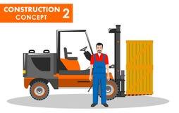 begrepp isolerad vit arbetare Detaljerad illustration av arbetaren och gaffeltrucken i plan stil på vit bakgrund Tung konstruktio Arkivfoton