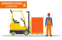begrepp isolerad vit arbetare Detaljerad illustration av arbetaren och gaffeltrucken i plan stil på vit bakgrund Tung konstruktio Royaltyfri Fotografi