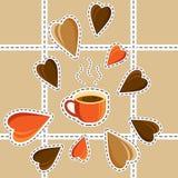 Begrepp - jag gillar kaffe Morgon Smakligt kaffe Tecknad filmstil V Royaltyfri Bild