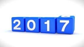 Begrepp 2017 - kuber för nytt år - blått vektor illustrationer