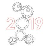 Begrepp 2019 - kugghjul för nytt år Arkivfoto
