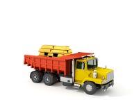 Begrepp lastbil med guld- stänger i baksidan Royaltyfria Foton