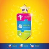 Begrepp Logo Gold Kids för för ungeomegakalcier och vitamin Royaltyfria Foton