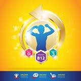 Begrepp Logo Gold Kids för för ungeomegakalcier och vitamin Arkivbild