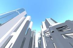 Begrepp på den Clean vita staden 3D Royaltyfria Bilder