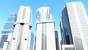 Begrepp på den Clean vita staden 3D Royaltyfri Foto