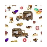 Begrepp på gatamat, kaffe som går Sömlös modell med bilen och sötsaker stock illustrationer
