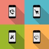 Begrepp på olika mobila Phote symboler. Vektor Royaltyfri Fotografi