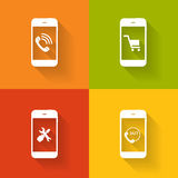Begrepp på olika mobila Phote symboler. Vektor stock illustrationer