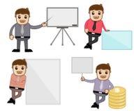 Begrepp & poserar - kontoret och illustrationen för vektor för affärstecknad filmtecken Arkivfoto