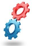 Begrepp röda och blåa kugghjul för 3d med skugga Fotografering för Bildbyråer