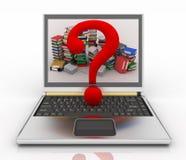 Begrepp som är on-line av hjälp i en portföljdator med anmärkningen av utfrågningen Arkivbild