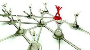 Begrepp Team Network med ledaren Arkivfoton