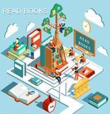 Begreppet av att lära, lästa böcker i arkivet, träd av kunskap, isometrisk plan designvektor Royaltyfria Foton