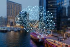 Begreppet av autonom saker och den smarta staden royaltyfri bild
