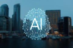 Begreppet av autonom saker och den smarta staden arkivbilder