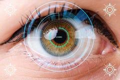 Begreppet av avkännaren som inympas in i mänskligt öga arkivfoton