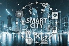 Begreppet av den smarta staden och internet av saker royaltyfria bilder