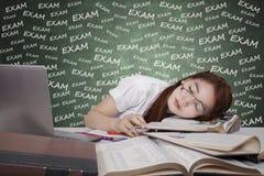 Begreppet av den trötta studenten förbereder examen Royaltyfri Bild