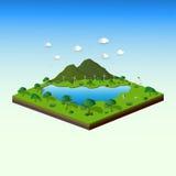 Begreppet av det isometriska landskapet med natur- och ecovänskapsmatch, sparar jord- och världsmiljön Arkivfoto