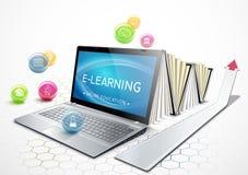 Begreppet av e-att lära utbildning online Bärbar dator som en ebook få för utbildning royaltyfri illustrationer