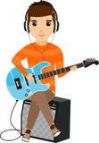 Begreppet av en ung man som spelar sammanträdet för elektrisk gitarr på förstärkaren lycklig grabb tecknad filmcommandertryckspru Royaltyfri Bild