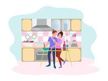 Begreppet av ett datum i köket stock illustrationer
