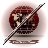Begreppet av ett drev turnerar runt om världen stock illustrationer