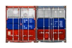 Begreppet av export-importen och nationell leverans av gods royaltyfri foto