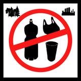 Begreppet av f?roreningproblem S?g inte till plastp?sar, flaskor, exponeringsglas Bilden ?r en affisch som kallar f?r att stoppa vektor illustrationer