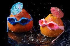 Begreppet av familjsemestern och loppet, grapefrukt två, i att simma exponeringsglas med paraplyer för coctailar som är liknande  royaltyfria foton